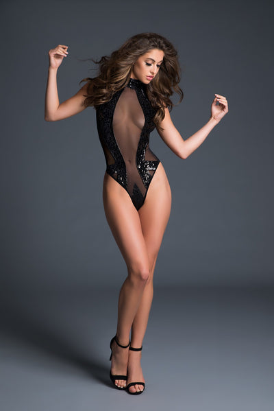 Enchanting Sequin Black Bodysuit Lingerie