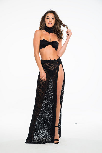 Sexy Lace Three Piece Set in Black