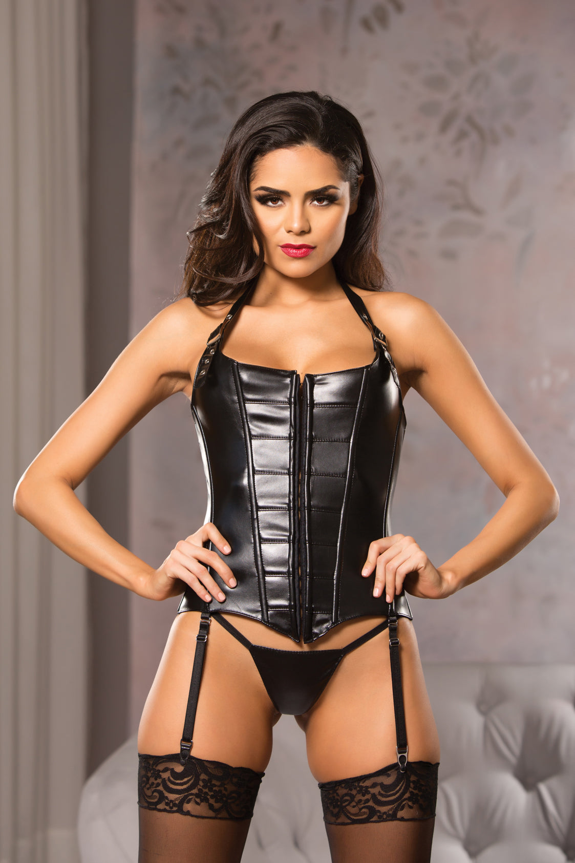 Elegant Boned Corset Top in Black