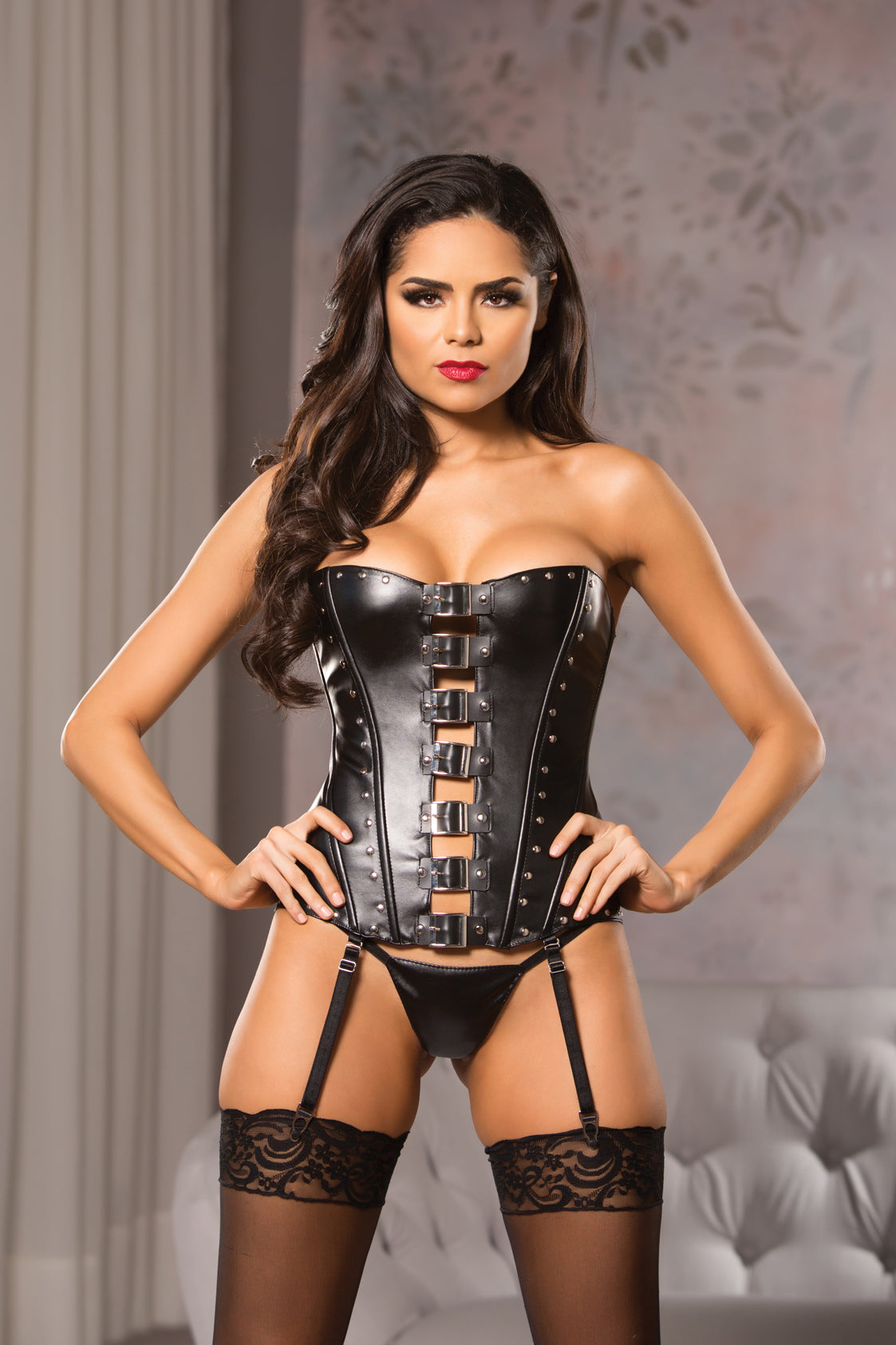 Black Steampunk Buckle Corset Top