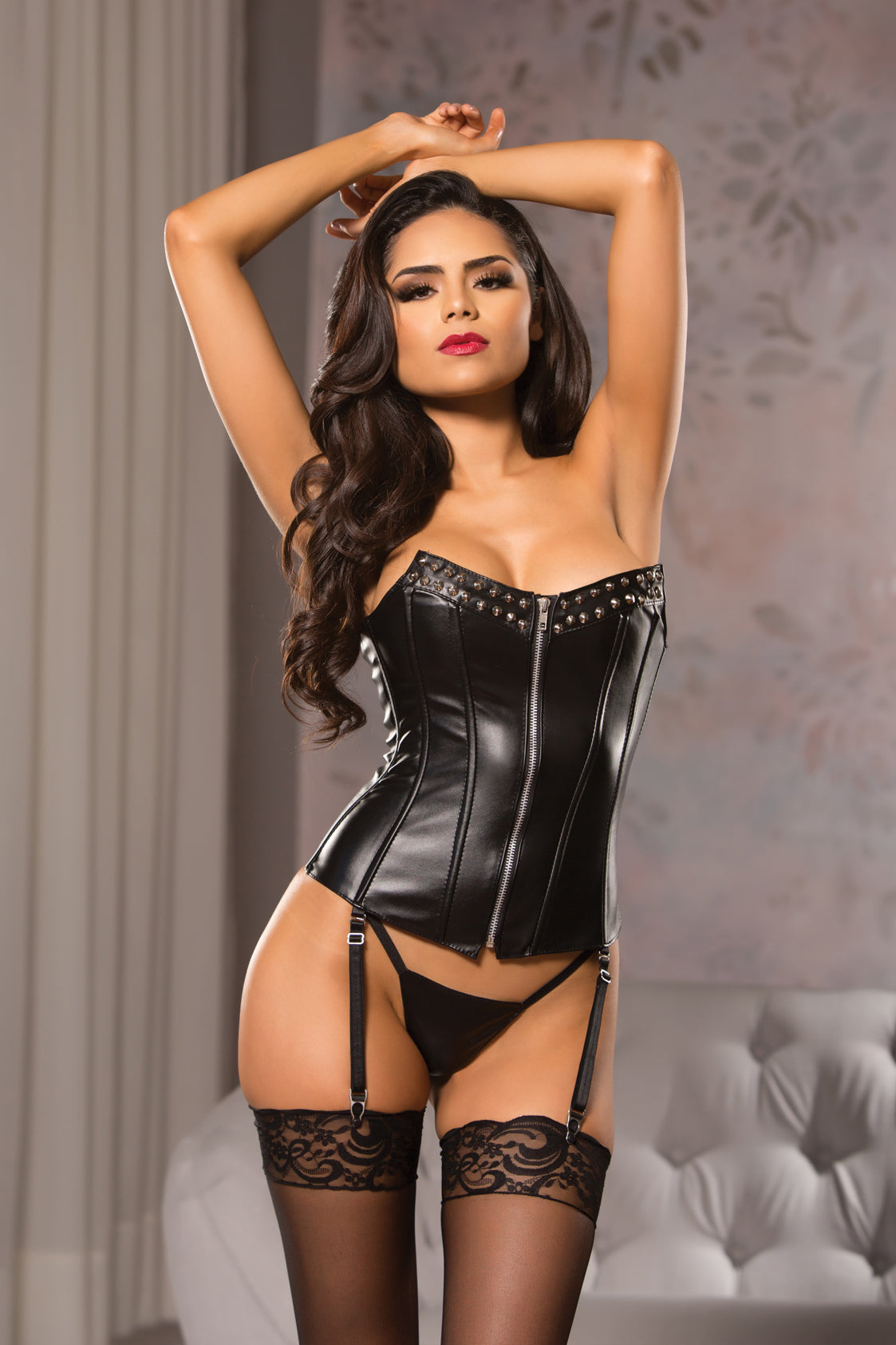 Sexy Black Zippered Corset