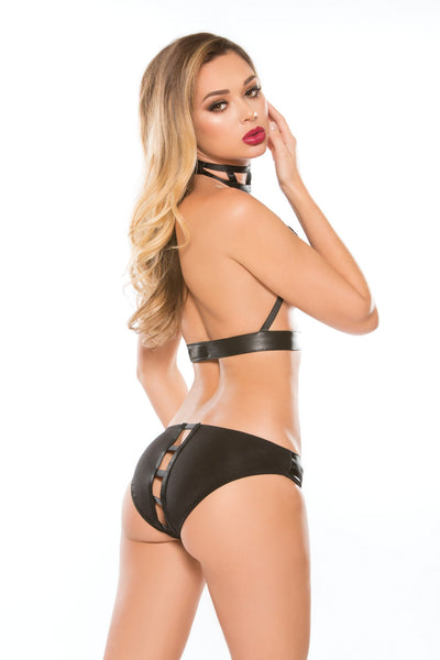 Black Playful Two Piece Crotchless Lingerie