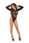 Black Long Sleeve Opaque Teddy Lingerie