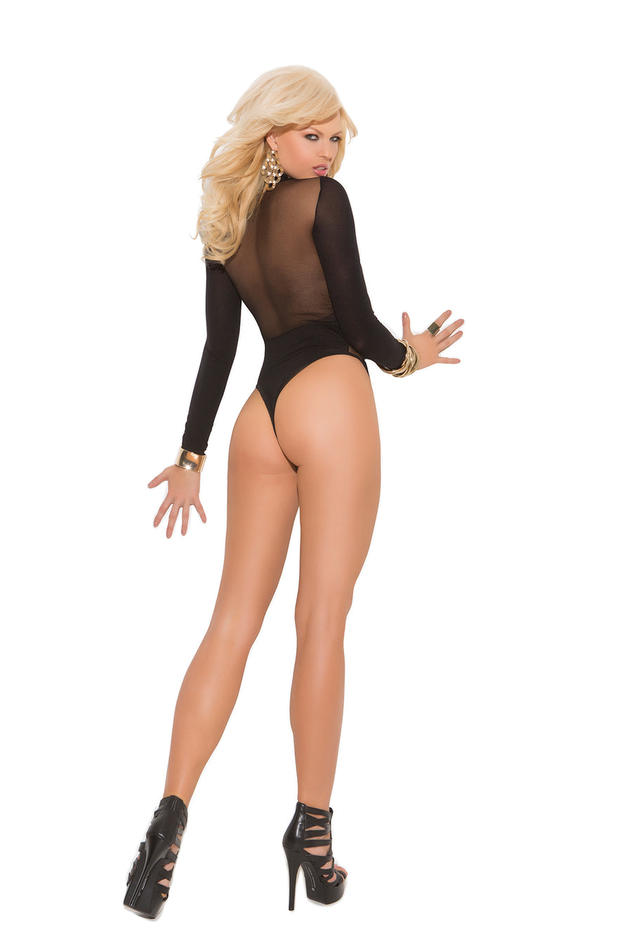 Black Long Sleeve Mesh Teddy Lingerie
