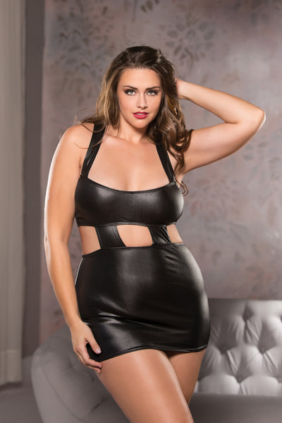 Plus Size Wet Look Sexy Mini Dress in Black