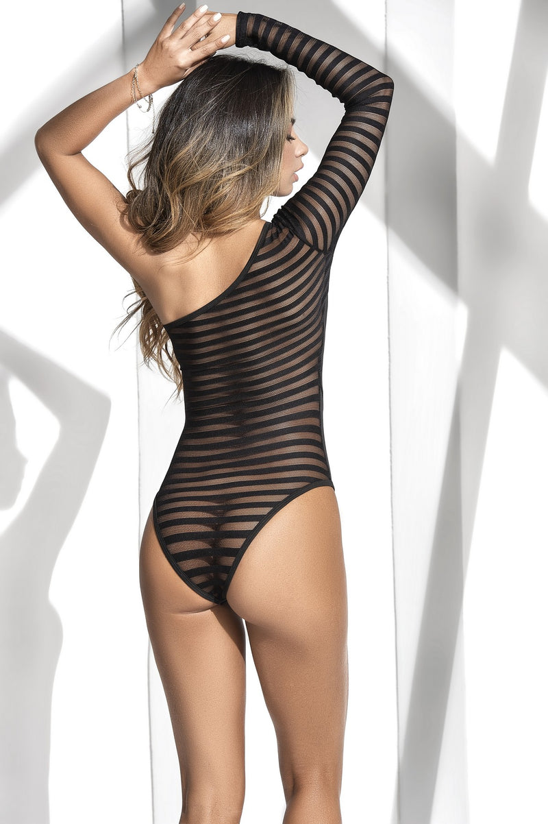 Asymmetric Wet Look Bodysuit