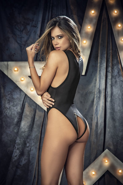 Black Daring Open Back Bodysuit