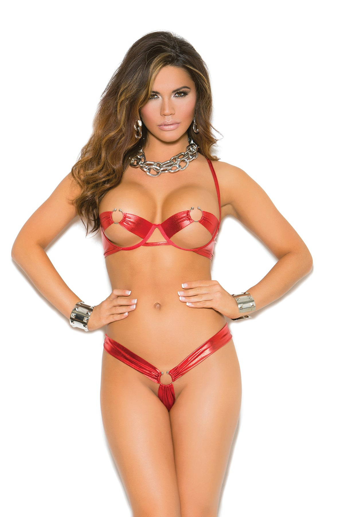 Red Open Cup Shelf Bra Set