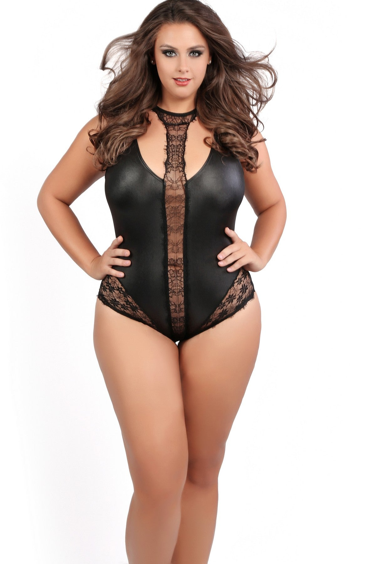 Plus Size Sexy Lace Choker Teddy