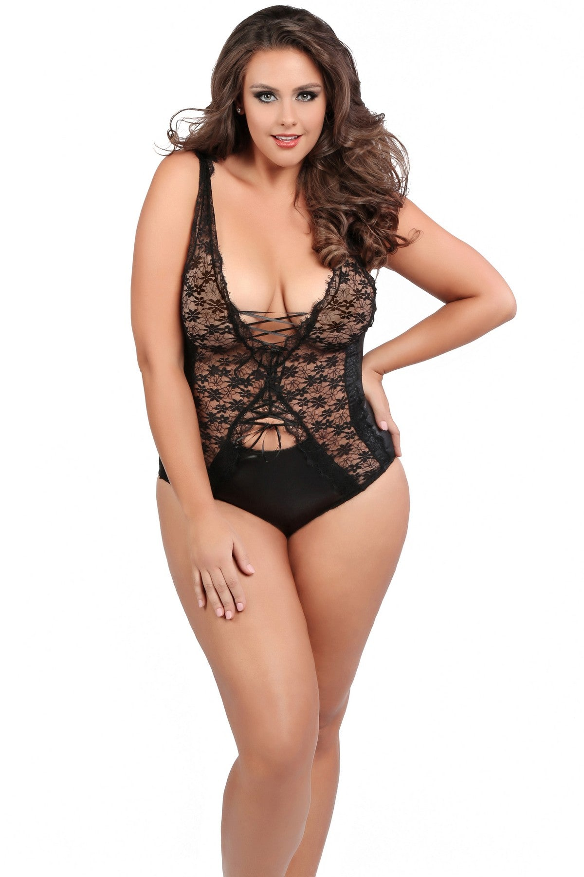 Plus Size Exotic Lace Teddy