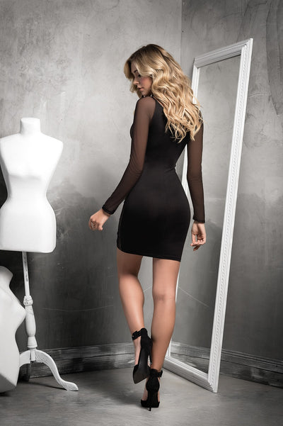 Sexy Black Sheer Mesh V Neck Dress
