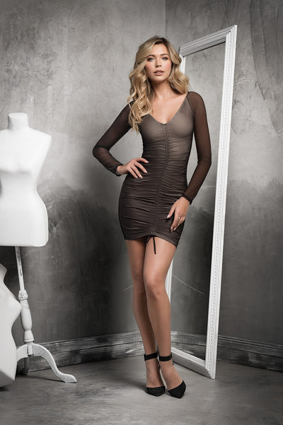 Black Sheer Mesh V Neck Dress