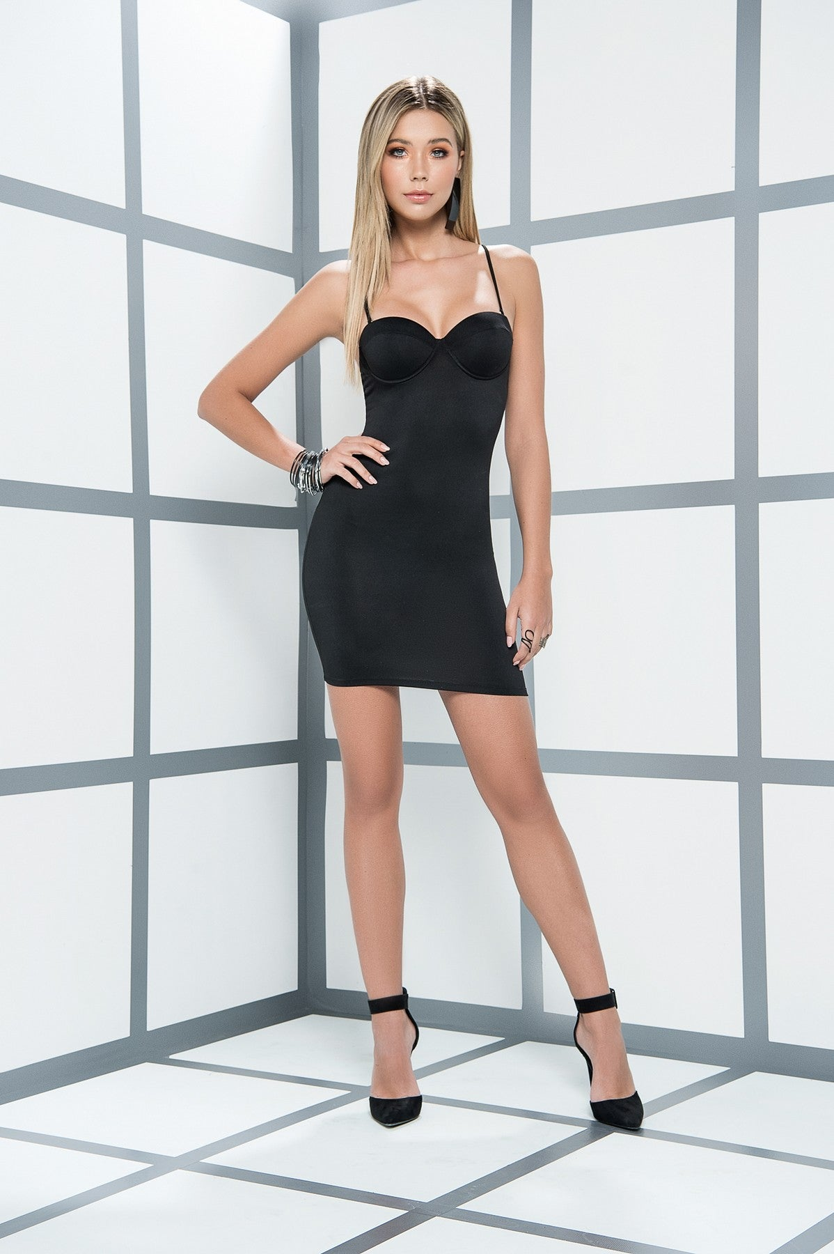 Black Underwired Fitted Mini Dress