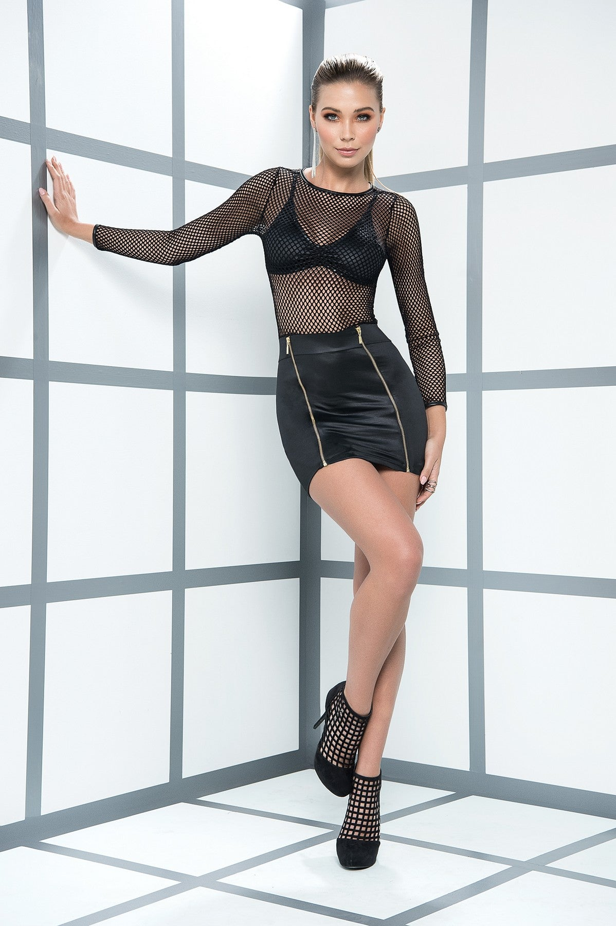 Black Fishnet Top Mini Dress