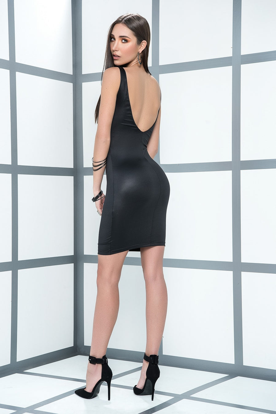 Figure Hugging Wet Look Mini Dress