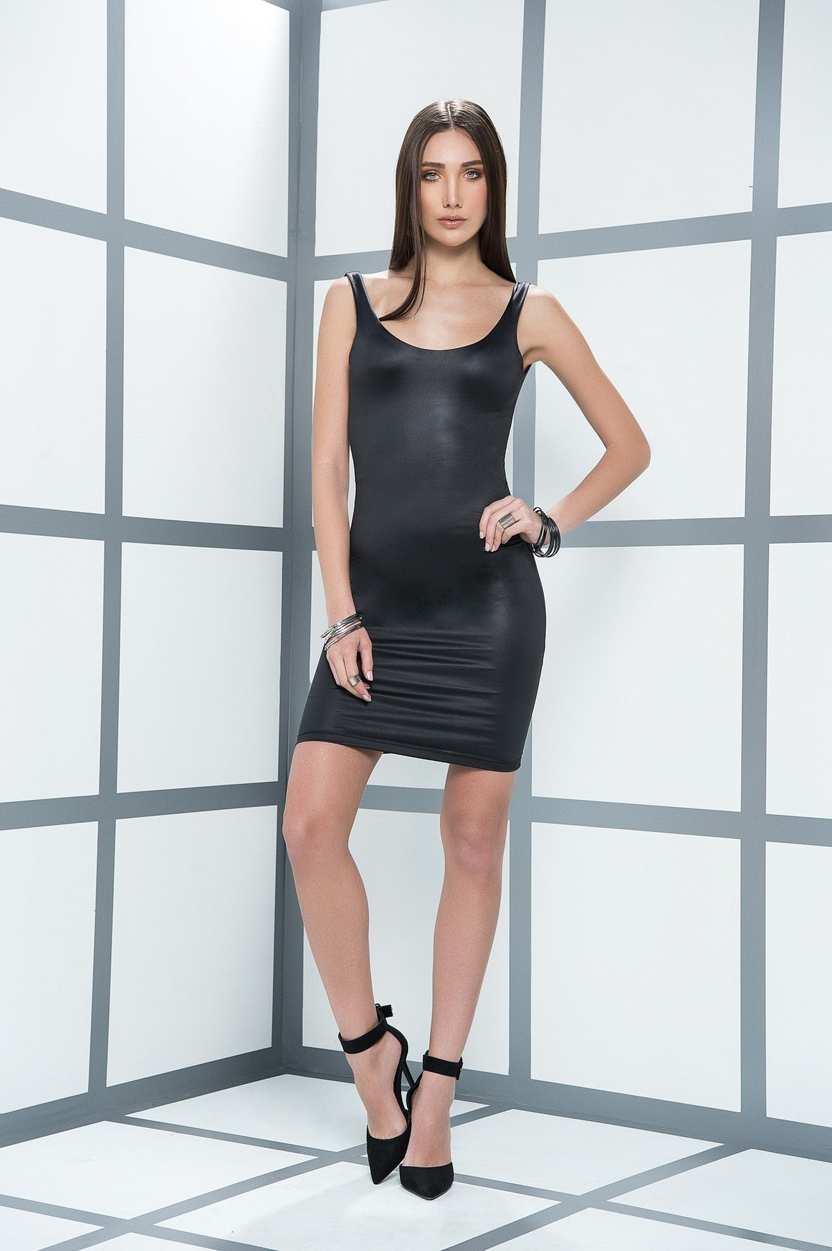 Figure Slimming Wet Look Mini Dress
