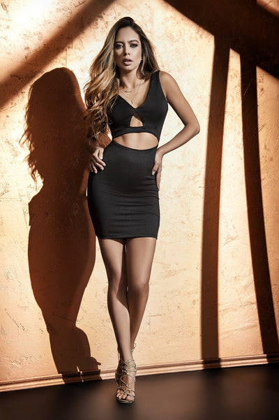 Black Sleek Cutout Mini Dress