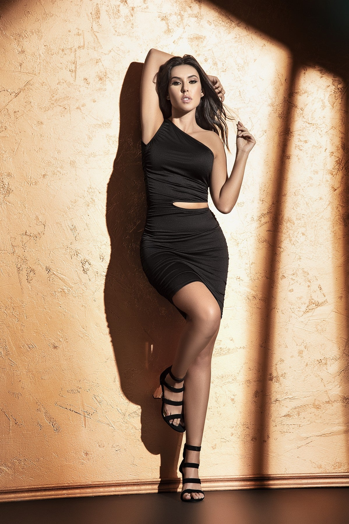 One Shoulder Black Short Dress