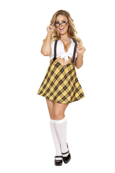 Sexy Plus Size Two Piece Naughty School Girl Outfit