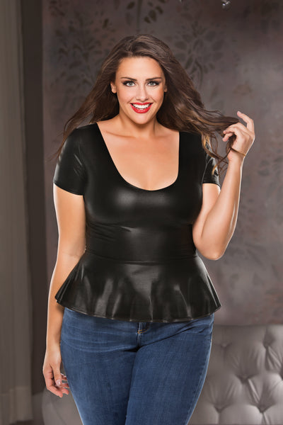 Sexy Black Plus Size Wet look Flirty Top