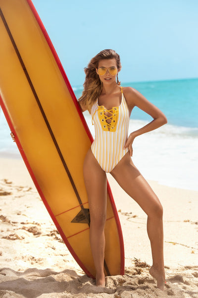 Dashing Lace Up One Piece Swimsuit in Tuscany Yellow