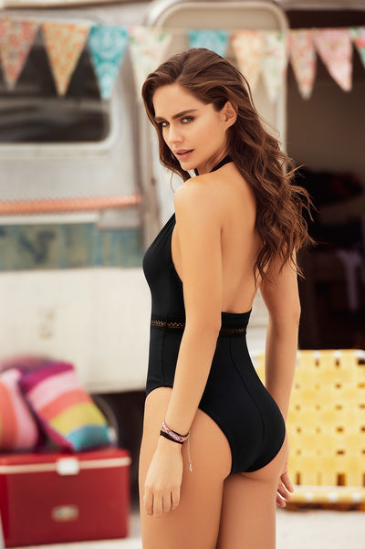 Trendy Beach Babe One Piece Swimsuit in Black