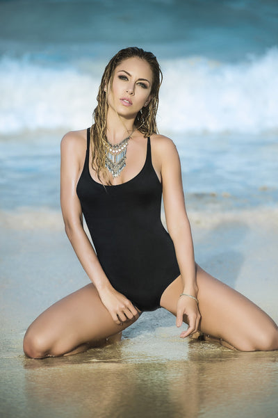 Black Monokini One Piece Swimsuit