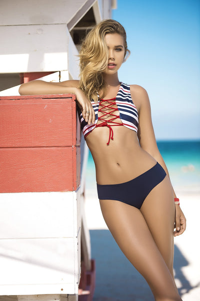 Beautiful Navy Striped Bikini