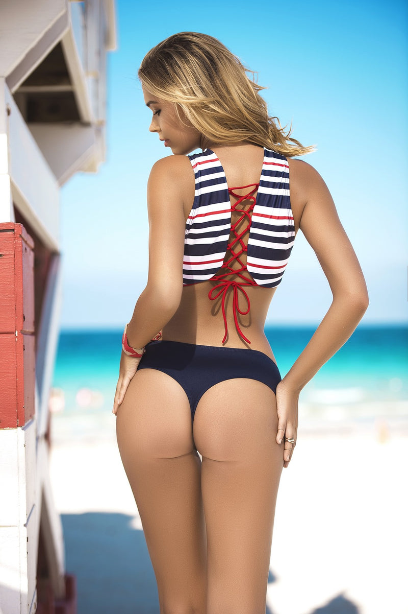 Navy Striped Bikini Set