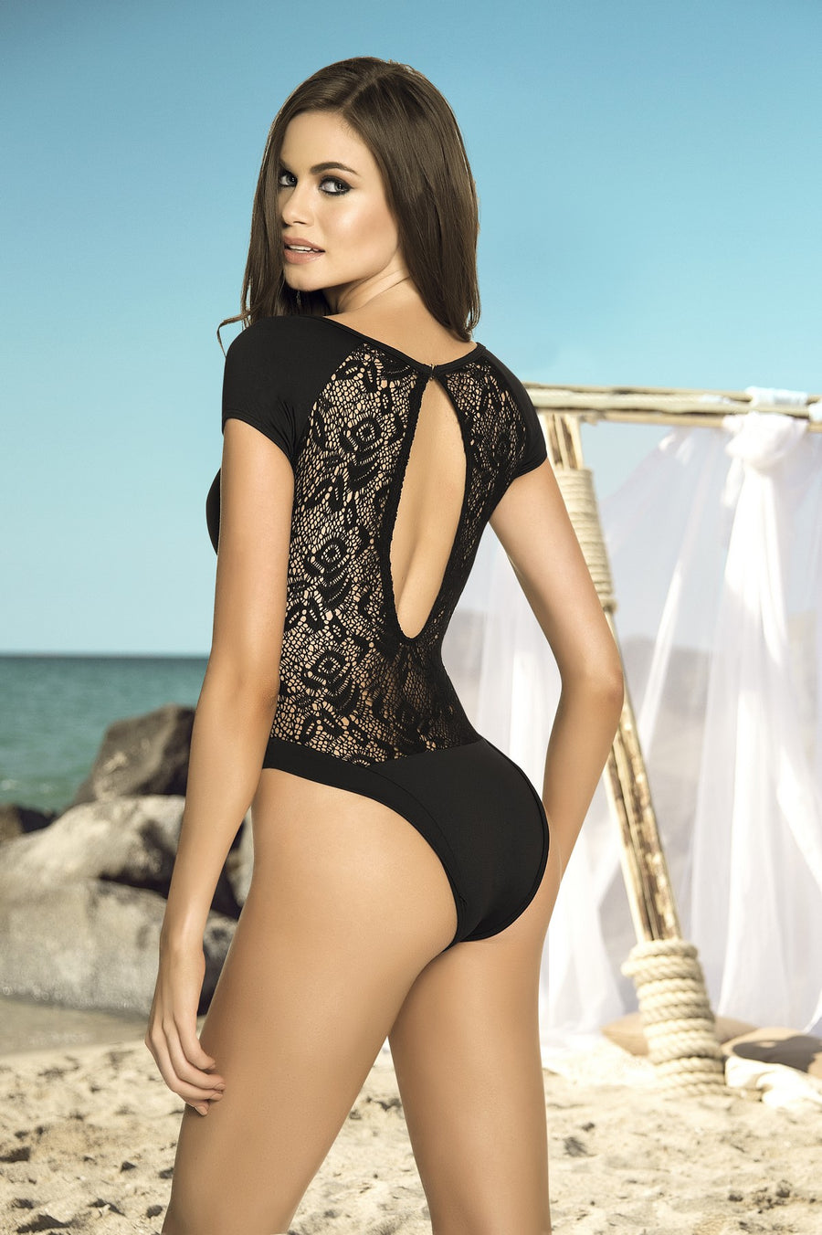 Black Crochet Monokini Swimsuit
