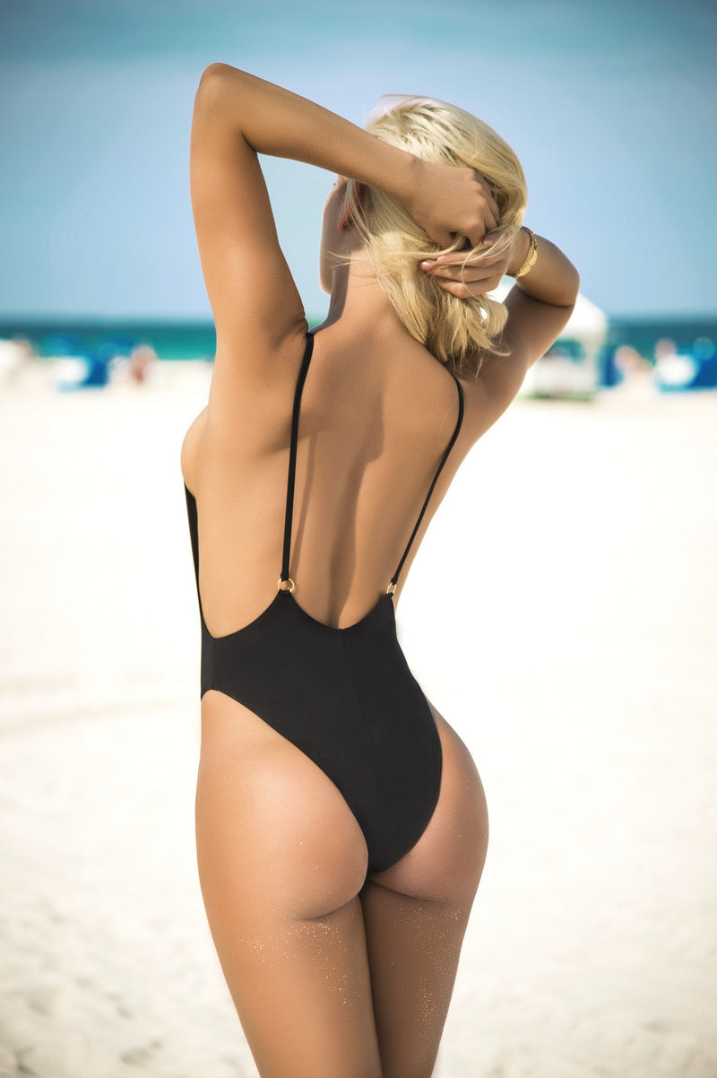 Sexy Black One Piece Swimsuit