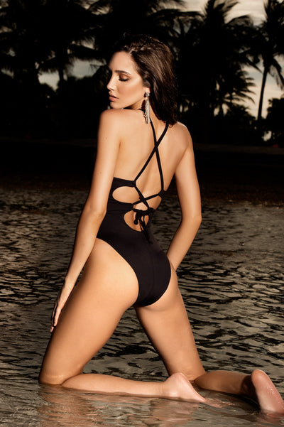 Trendy Black Sheer One Piece Swimwear