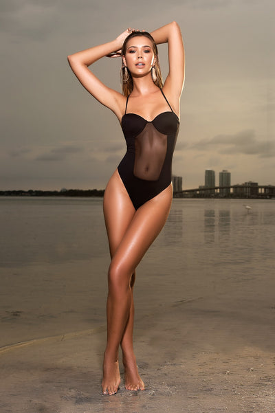 Elegant Bandeau One Piece Swimwear in Black