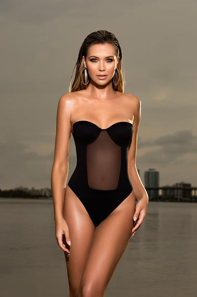 Elegant Bandeau One Piece Swimsuit in Black