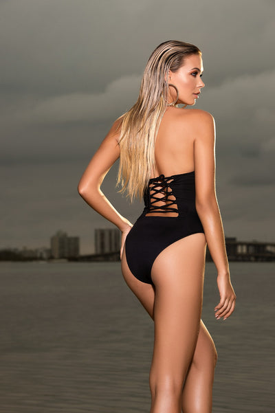 Black Elegant Bandeau One Piece Swimsuit