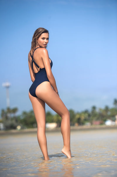 Trendy Crisscross One Piece Swimwear in Navy