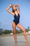 Trendy Crisscross Navy One Piece Swimwear