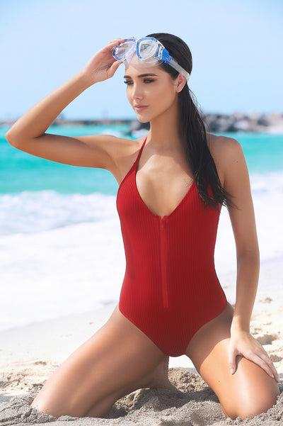 Baywatch Babe One Piece Swimsuit in Red