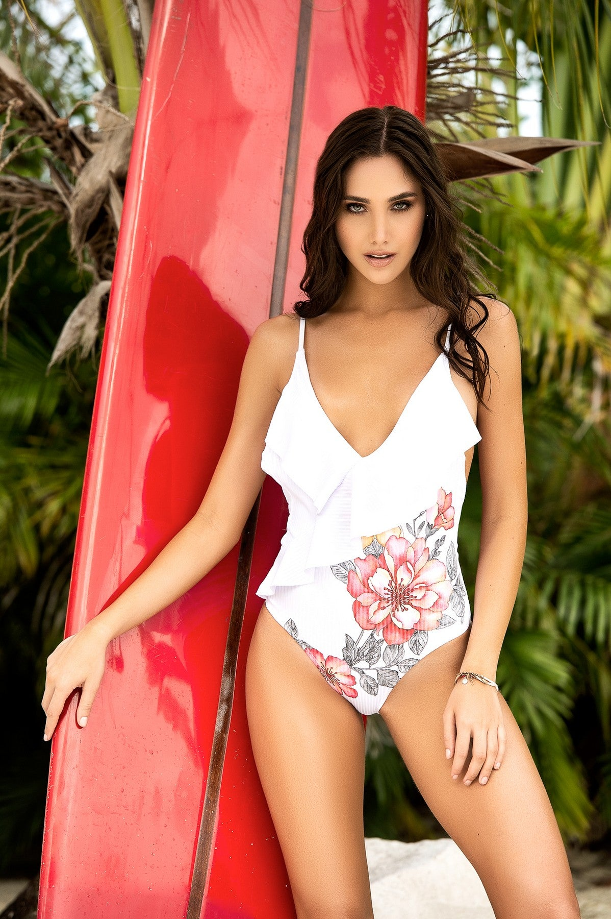 Ruffled Neckline One Piece Swimsuit