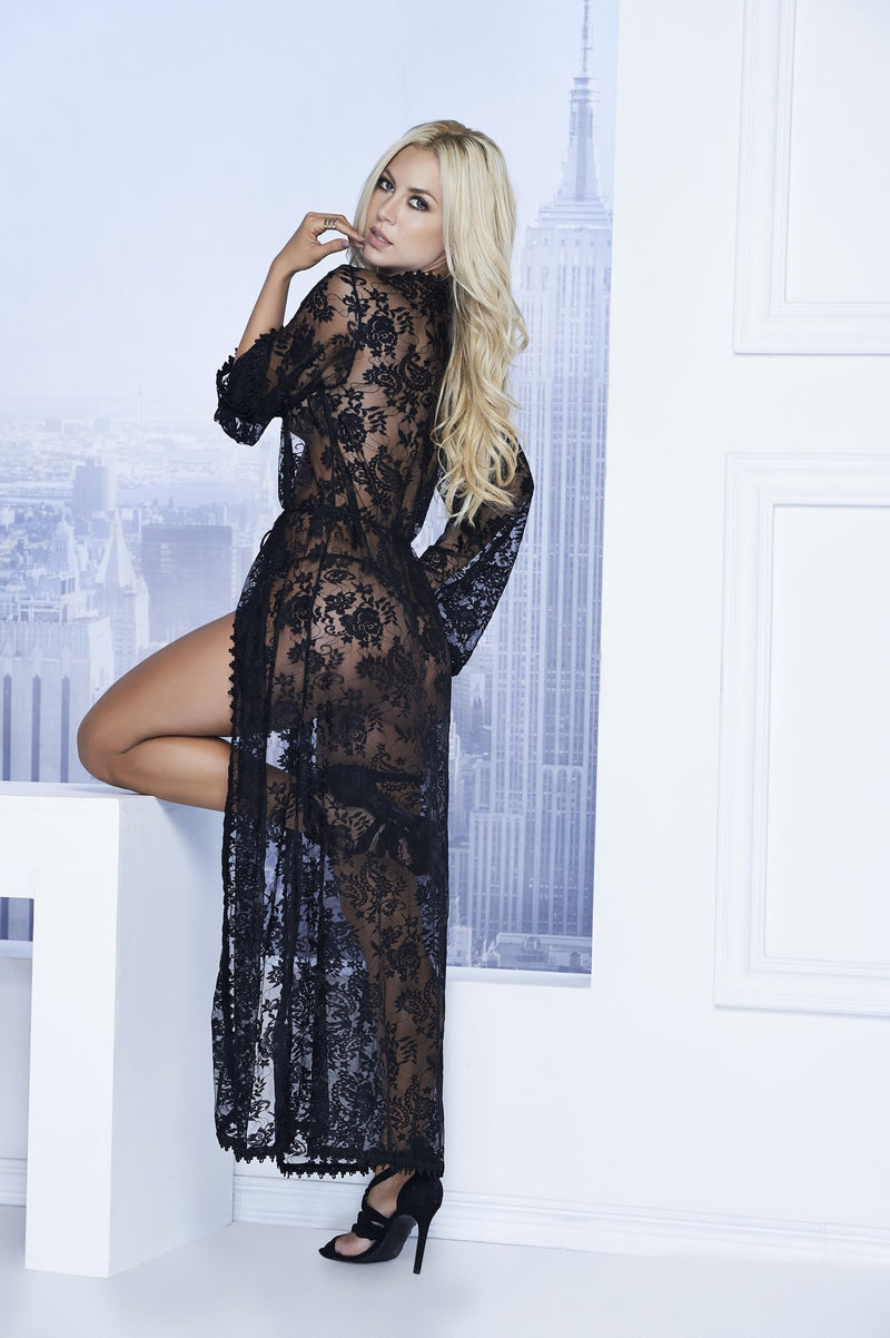 Sexy Long Lace Robe Set