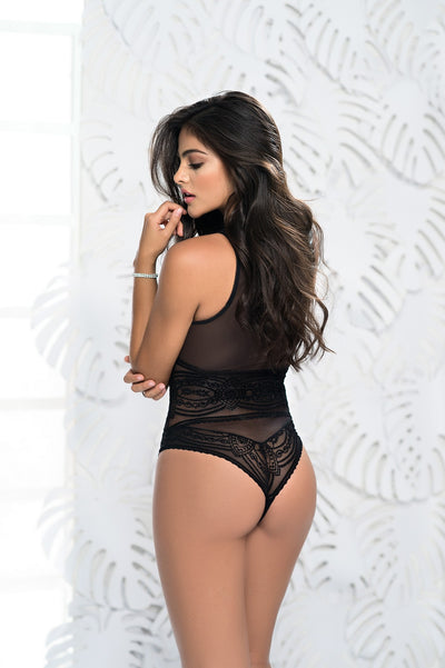 Sheer Lace Teddy Lingerie in Black
