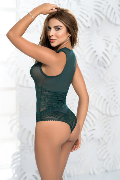 Green Sheer Lace Teddy Lingerie