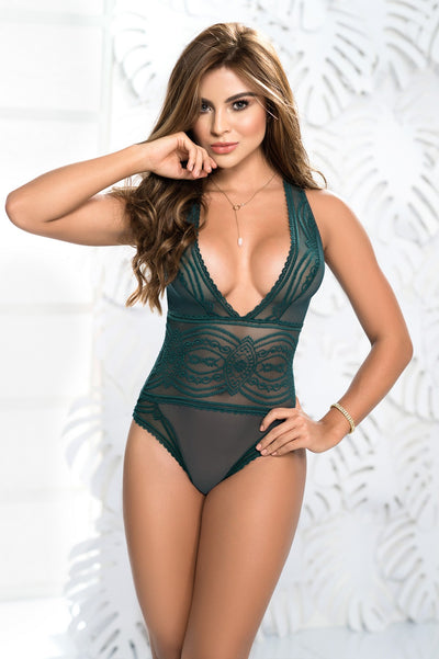 Sheer Lace Teddy Lingerie in Green