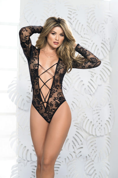 Romantic Black Lace Long Sleeve Teddy