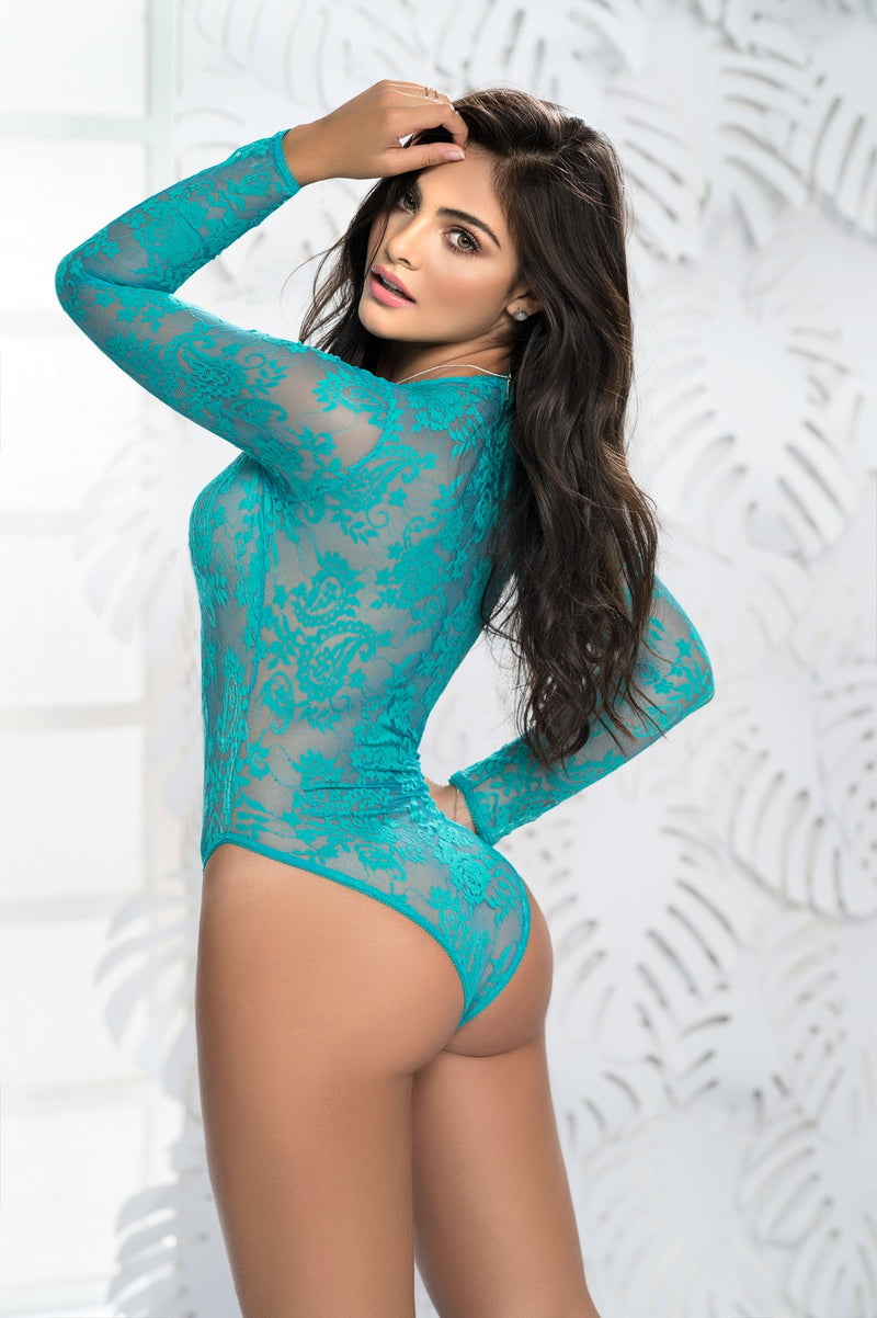 Romantic Lace Long Sleeve Teddy in Turquoise