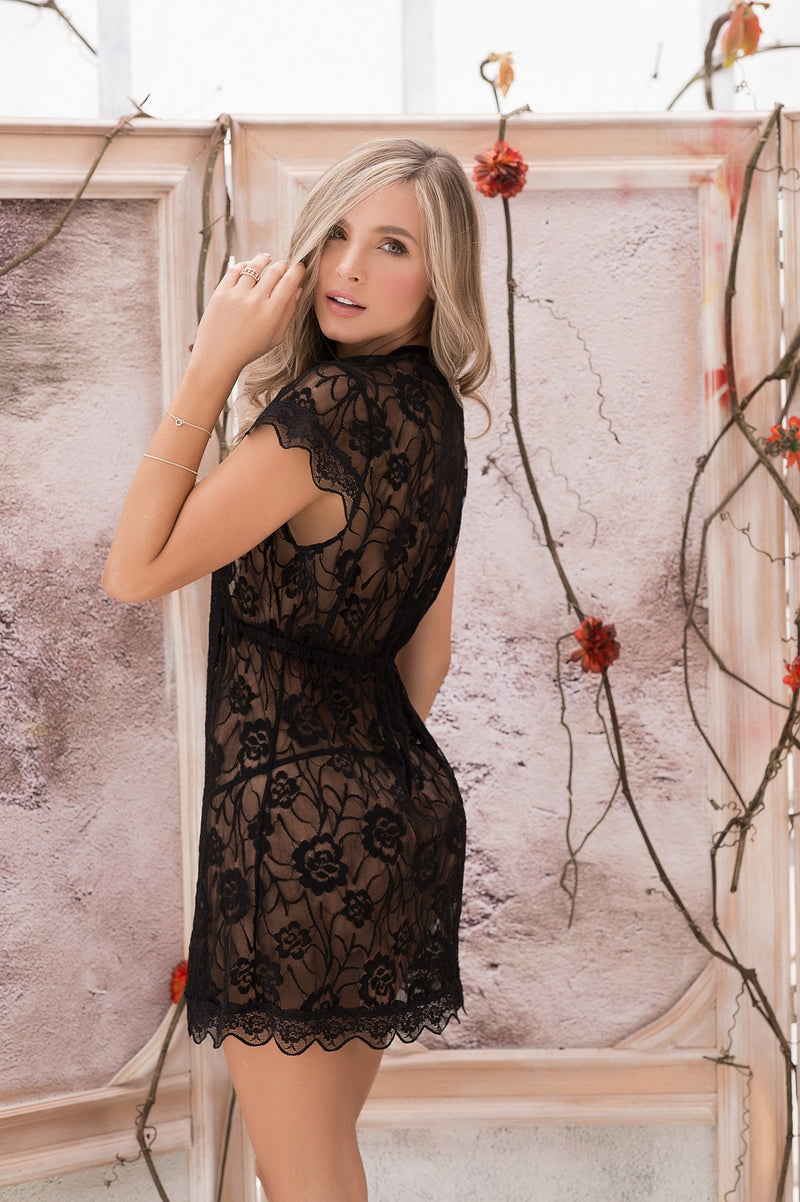 Black Sheer Lace Robe Set
