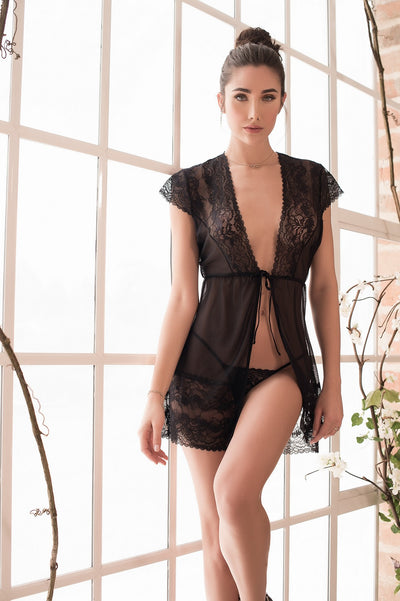 Black Seductive Lace Robe Set