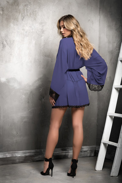 Blue Black Trim Luxurious Sheer Lace Robe Set