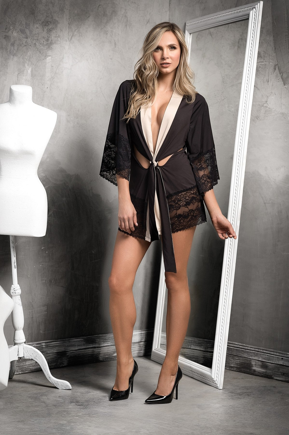 Sheer Lace Nightwear Robe Set