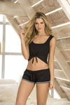 Black Cute Lounge wear Shorts Set